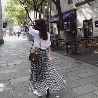 半身裙女春2018新款�n版�W生高腰港味chic格子�L裙ins超火裙子夏 黑白格子