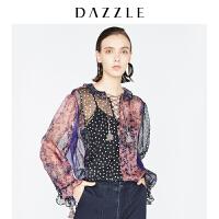 DAZZLE地素 18冬装新款刘雯同款印花波点绑带上衣衬衫女2F4D5356G