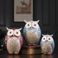 可爱猫头鹰摆件工艺品欧式创意复古家居饰品客厅书房树脂小摆设品