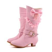 女童高跟靴子白色韩版公主高筒长靴马丁靴2017新款雪地靴棉鞋 666-28粉 27码/17.5cm