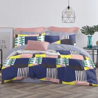 LOVO家纺 全棉纯棉四件套欧式几何纹样撞色彩设计床上套件床单被套 温士顿