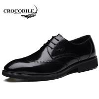 鳄鱼恤皮鞋系带商务正装鞋百搭男士尖头鞋婚鞋头层牛皮舒适男鞋