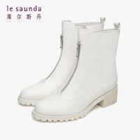 莱尔斯丹 时尚简约圆头拼接粗跟短靴女靴LS AT46901