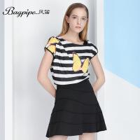 BAGPIPE/风笛雪纺衫女2017夏季新款时尚宽松女装条纹印花短袖上衣