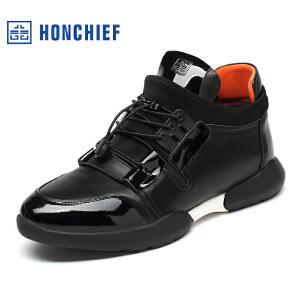 HONCHIEF 红蜻蜓旗下 冬季新款潮流年轻运动休闲男鞋真皮拼接男鞋