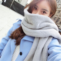长款仿毛毛绒獭兔毛围巾女冬季时尚韩版百搭灰色披肩学生围脖套头