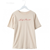 破洞刺绣字母T恤女短袖百搭韩范中长款夏装2018新款圆领上衣 均码