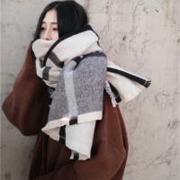 韩版仿羊绒围巾女冬季加厚大格子欧美风学生百搭情侣针织围脖 主图色