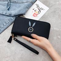 新款女士手拿钱包长款2018新款韩版纯色大容量拉链零钱包女手腕手机包 兔耳朵黑色 流苏带手腕带