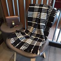 黑白格子双面可用围巾 秋冬新款韩版学生百搭保暖舒适围脖女披肩 米格