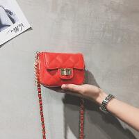 迷你小包包仙女2018夏天新款潮百搭菱格链条包单肩斜挎零钱包 红色