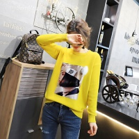 打底毛衣女韩版套头学生2018春装新款女装圆领人物针织衫女长袖潮 黄色 均码