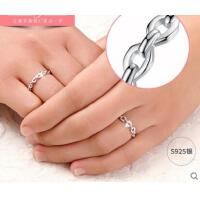 甜美清新气质男女时尚创意链子款指环精致耐磨情侣对戒银戒指一对尾戒