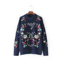 女装秋冬新款欧美风重工刺绣花朵花环套头毛衣针织衫女