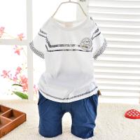 童装男童夏季短袖短裤套装 肩扣小猫短袖短裤儿童运动2件套