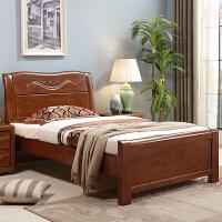 单人床1.2米实木床1.35米双人床1.5橡木床1m现代简约储物床