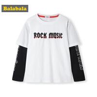 巴拉巴拉男童长袖t恤秋装2019新款童装儿童上衣假两件印花衣服潮