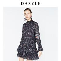 【仅限12.8一天 比双12更优惠 到手价:800元】DAZZLE地素 18冬专柜新款 写实花卉荷叶边百褶连衣裙 2F