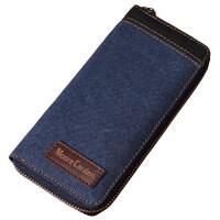 新款摩尔卡登男士长款钱包 男款学生钱夹 多卡位帆布手拿包 竖款薄 宝蓝色