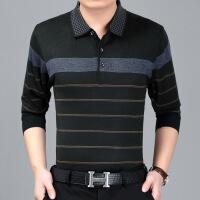 春秋季中年男士长袖T恤 中老年爸爸装羊绒薄款针织衫体恤男装上衣