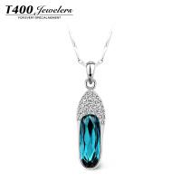 T400采用施华洛世奇元素水晶项链女 日韩版简约锁骨链吊坠 玻璃鞋 1888