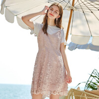 秋水伊人连衣裙时尚套装2020夏装新款女装短袖洋气减龄俏皮吊带裙
