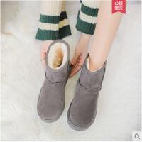 冬季新款短筒加绒雪地靴女百搭网红短靴韩版平底中筒加绒棉鞋