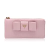Prada/普拉达粉色牛皮材质蝴蝶结装饰女士长款钱夹