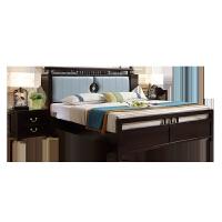 新中式实木床1.8米双人床软包卧室家具现代古典禅意古典风格 +喜洋洋床垫