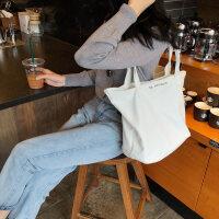 原宿帆布包女单肩大容量手提购物袋韩版简约小清新帆布袋 横向大号