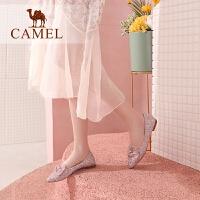 camel骆驼女鞋2019春季新款网红休闲鞋子平底时尚潮款蝴蝶结平跟女单鞋