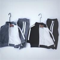 小杰家季新品男女童套装加绒加厚运动服小童宝宝休闲两件套 黑色