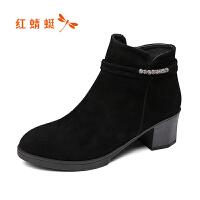 红蜻蜓女鞋优雅职场粗跟舒适女士短靴