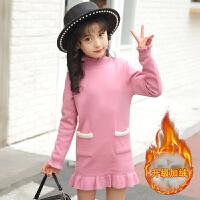 女童毛衣中长款加绒加厚小女孩打底衫中大童针织衫韩版2017新款