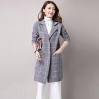毛呢外套 女士V领中长款格子毛呢外套2020年冬季新款韩版时尚潮流女式宽松洋气女装呢大衣