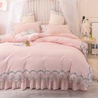 君别ins公主风水洗棉四件套床上用品韩式蕾丝花边床裙1.8米床单被套件