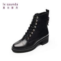 莱尔斯丹 秋冬圆头拉链短筒时尚系带女靴马丁靴9T36628