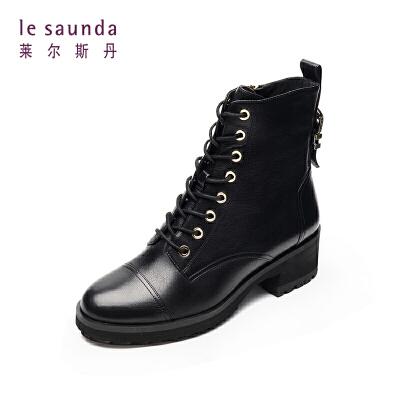 莱尔斯丹 秋冬圆头拉链短筒时尚系带女靴马丁靴9T36628 圆头拉链短筒女靴马丁靴