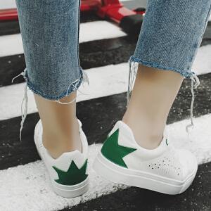 2018春季新款小白鞋软面皮休闲鞋厚底系带板鞋学生球鞋