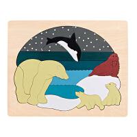 Hape多层情景拼图-北极动物5岁+早教启蒙木制玩具积木拼插拼图拼板E6522