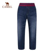 骆驼户外儿童加绒长裤弹力腰猫须磨白中腰牛仔裤