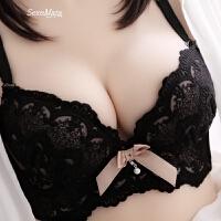 送内裤性感深V蕾丝聚拢调整型加厚款小胸文胸收副乳内衣胸罩少女