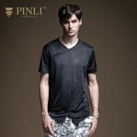 PINLI品立2020夏季新款男�bV�I短袖T恤夏天男�w恤上衣男潮日常