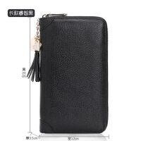大容量真皮零钱包女士卡包女韩版多卡位驾驶证皮套女卡片包卡包夹 60卡位 真皮 流苏 黑色