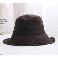 【人海】韩版秋冬针织帽子渔夫帽女文艺毛边盆帽高冷英伦复古礼帽 M(56-58cm)