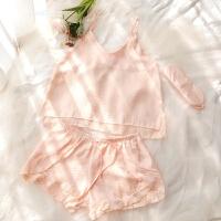 B-018海棠春色吊带睡衣家居服套装三件套配同色眼罩 浅橘色 M