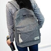 纯色约双肩包女韩版书包中学生女学院风旅行背包男电脑包休闲包 灰