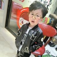 儿童皮衣外套加厚加绒装韩版小童宝宝皮夹克小孩衣服男童pu皮潮 黑色 夹棉