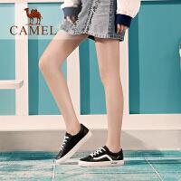 骆驼女鞋2019春季新款休闲板鞋女潮系带韩版单鞋平底网红小白鞋女