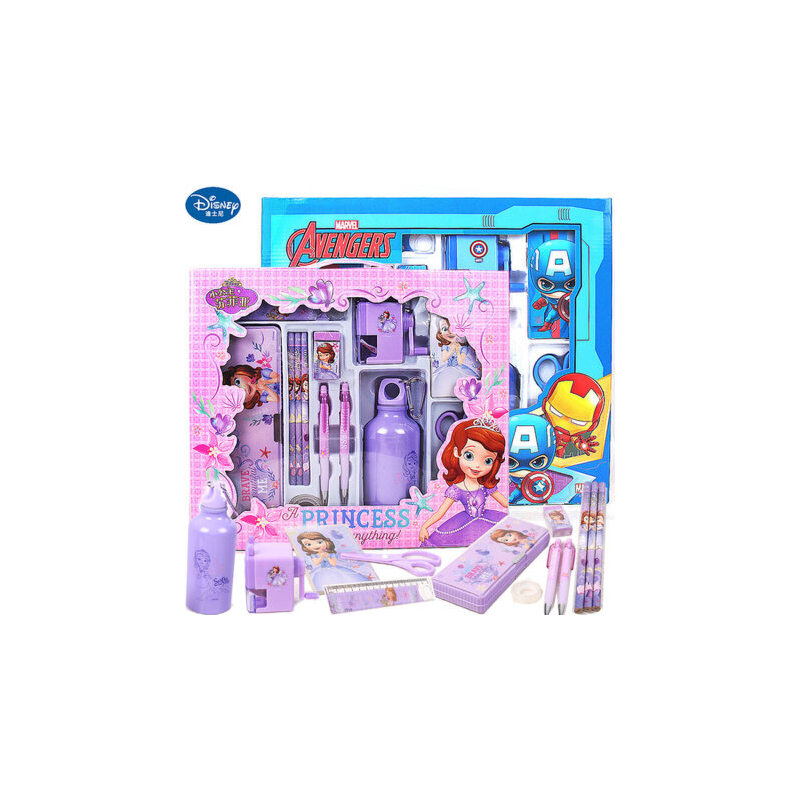 迪士尼文具保温杯套装儿童节生日礼物小学生文具礼品儿童文具礼盒 带水杯削笔器文具盒等多种文具套装